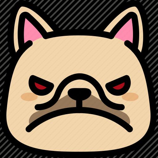 angry, emoji, emotion, expression, face, feeling, french bulldog icon