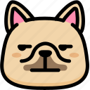 annoying, emoji, emotion, expression, face, feeling, french bulldog icon