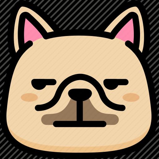 annoying, emoji, emotion, expression, face, feeling, french bulldog icon