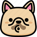 blowing, emoji, emotion, expression, face, feeling, french bulldog icon