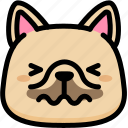 confounded, emoji, emotion, expression, face, feeling, french bulldog