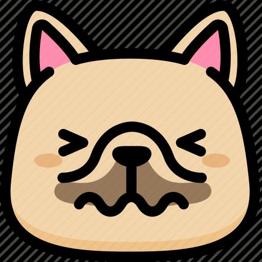 confounded, emoji, emotion, expression, face, feeling, french bulldog icon