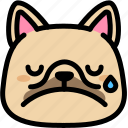 cry, emoji, emotion, expression, face, feeling, french bulldog icon