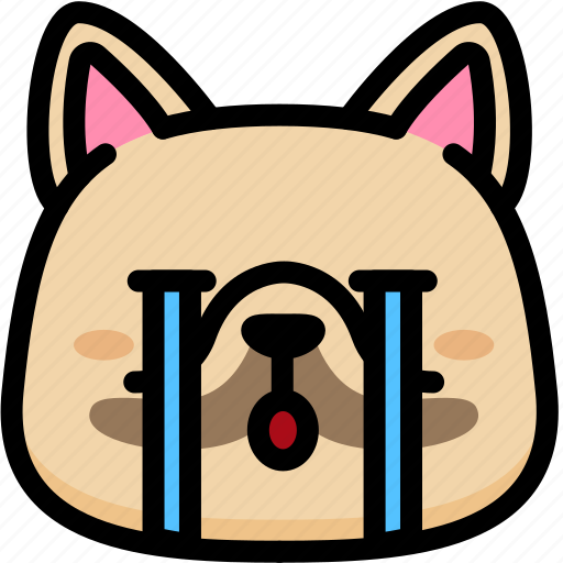 cry, emoji, emotion, expression, face, feeling, french bulldog icon