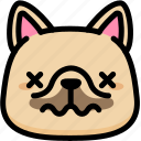 dead, emoji, emotion, expression, face, feeling, french bulldog icon