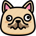 dizzy, emoji, emotion, expression, face, feeling, french bulldog icon