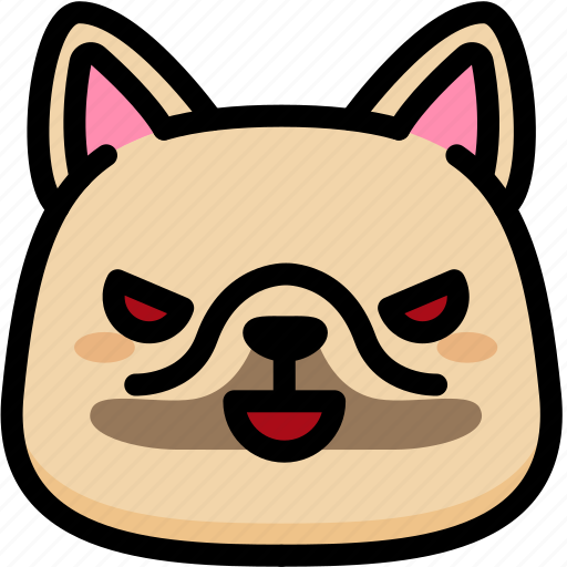 emoji, emotion, evil, expression, face, feeling, french bulldog icon