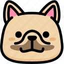 emoji, emotion, expression, face, feeling, french bulldog, grinning icon
