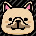 emoji, emotion, expression, face, feeling, french bulldog, grinning icon