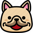 emoji, emotion, expression, face, feeling, french bulldog, happy icon