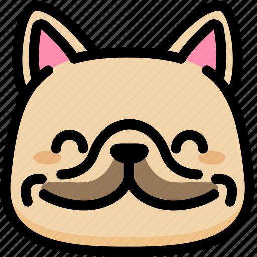 emoji, emotion, expression, face, feeling, french bulldog, happy icon