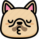 emoji, emotion, expression, face, feeling, french bulldog, kiss icon