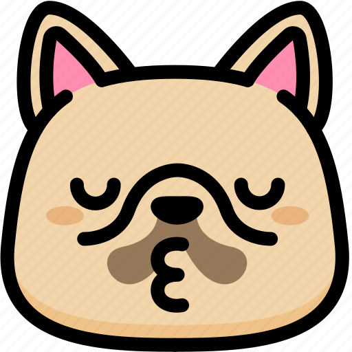 emoji, emotion, expression, face, feeling, french bulldog, kiss icon