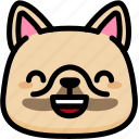 emoji, emotion, expression, face, feeling, french bulldog, laughing icon