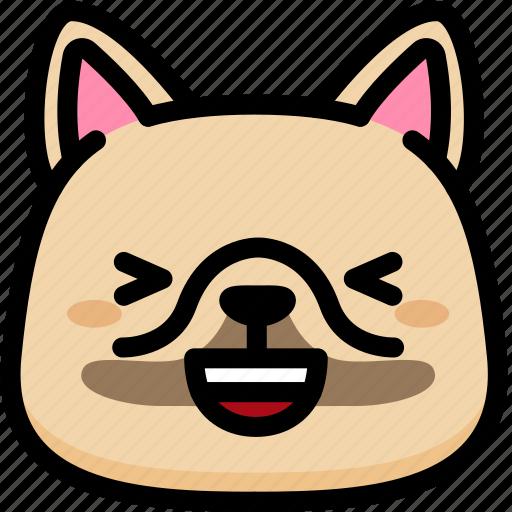 dog, emoji, emotion, expression, face, feeling, laughing icon