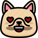 emoji, emotion, expression, face, feeling, french bulldog, love icon