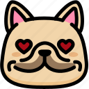 emoji, emotion, expression, face, feeling, french bulldog, love