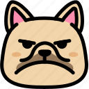 emoji, emotion, expression, face, feeling, french bulldog, mad icon