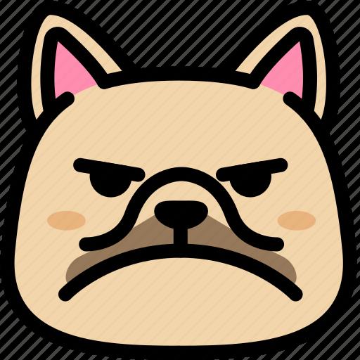 emoji, emotion, expression, face, feeling, french bulldog, mad icon
