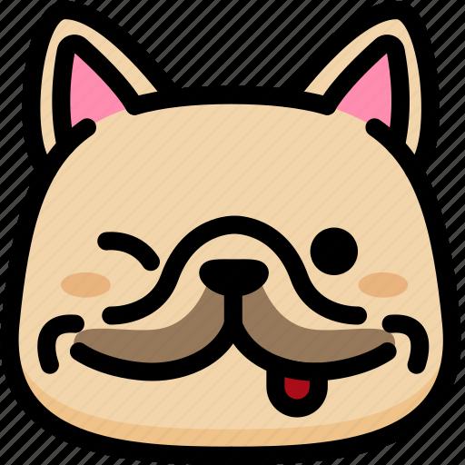 emoji, emotion, expression, face, feeling, french bulldog, naughty icon