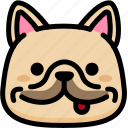 emoji, emotion, expression, face, feeling, french bulldog, naughty icon