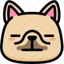 emoji, emotion, expression, face, feeling, french bulldog, neutral icon