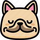 emoji, emotion, expression, face, feeling, french bulldog, peace icon