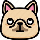 dog, emoji, emotion, expression, eyes, face, rolling icon