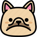 emoji, emotion, expression, face, feeling, french bulldog, sad icon