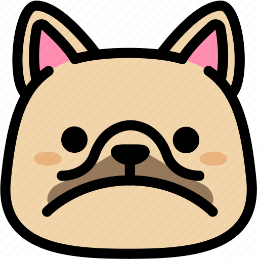 emoji, emotion, expression, face, feeling, french bulldog, sad icon