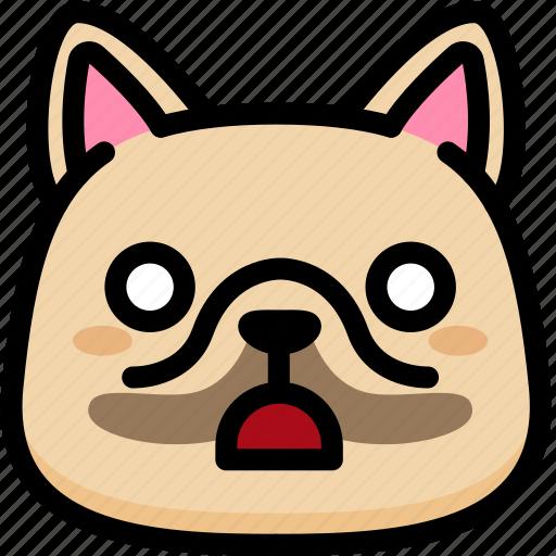 dog, emoji, emotion, expression, face, feeling, shocked icon