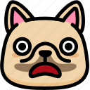 emoji, emotion, expression, face, feeling, french bulldog, shocked icon