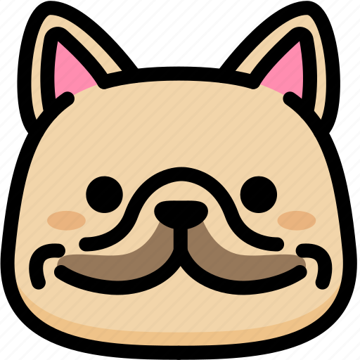 emoji, emotion, expression, face, feeling, french bulldog, smile icon