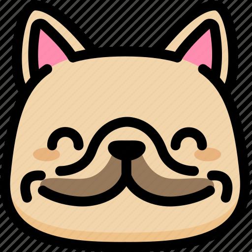 emoji, emotion, expression, face, feeling, french bulldog, smile icon