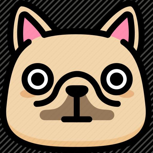 emoji, emotion, expression, face, feeling, french bulldog, stunning icon