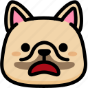 emoji, emotion, expression, face, feeling, french bulldog, stunning icon