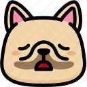 emoji, emotion, expression, face, feeling, french bulldog, tried icon