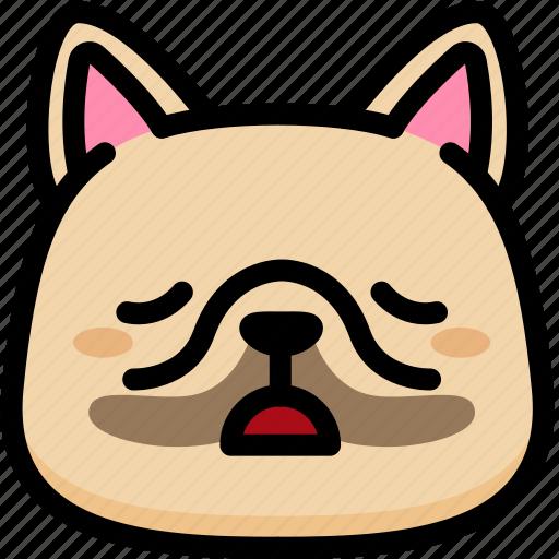emoji, emotion, expression, face, feeling, french bulldog, tried icon