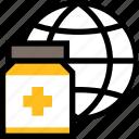 online healthcare, medical, hospital, medicine, globe, general, bottle