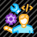 developer, development, end, front, internet, it, sphere icon