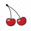 cherry, color, food, fruit, red cherry, sweet