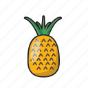 color, food, fruit, pineapple, sweet, yellow icon