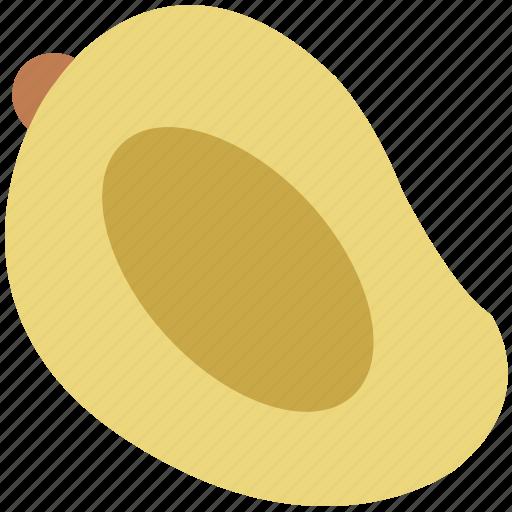 fleshy fruit, fruit, half of mango, mango, mango fruit, tropical icon