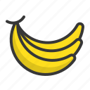 banana, food, fruit, fruits, hand of bananas, healthy icon