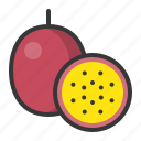 food, fruit, fruits, half passion fruit, healthy, passion fruit icon