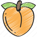 food, eating, fruit, health, peach icon