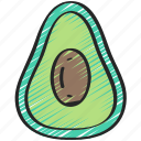avacado, eating, food, fruit, health icon