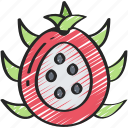 dragonfruit, eating, food, fruit, health