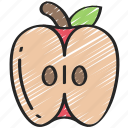 apple, eating, food, fruit, half, health icon