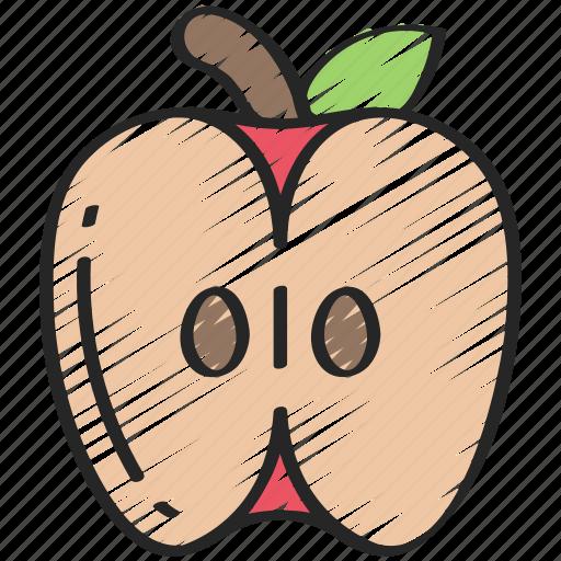 apple, eating, food, fruit, half, health icon